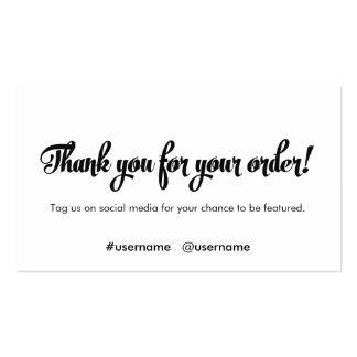Thank You for your Order Customer Loyalty Pack Of Standard Business Cards