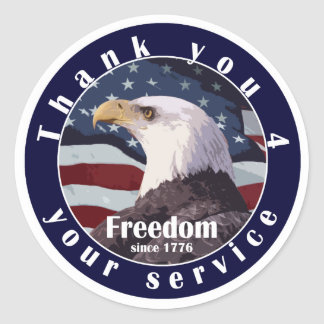 Thank you for your service freedom since 1776 classic round sticker