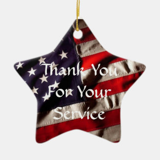 Thank You for Your Service - God Bless Our Troops Ceramic Star Decoration
