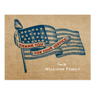 Thank You For Your Service Military Burlap Flag Postcard