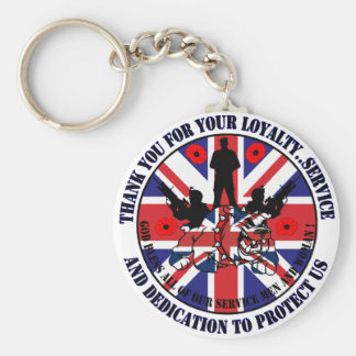 Thank you for your service UK Soldiers Basic Round Button Key Ring