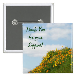Thank You for Your Support Poppy Flowers Blue Sky Pinback Buttons