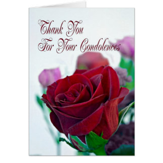 Thank you for your sympathy card, with a red rose greeting card