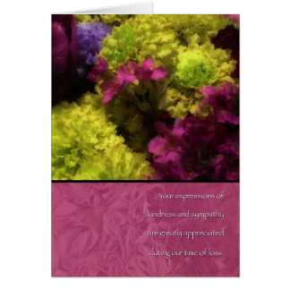 Thank You for Your Sympathy Floral Bouquet Design Cards
