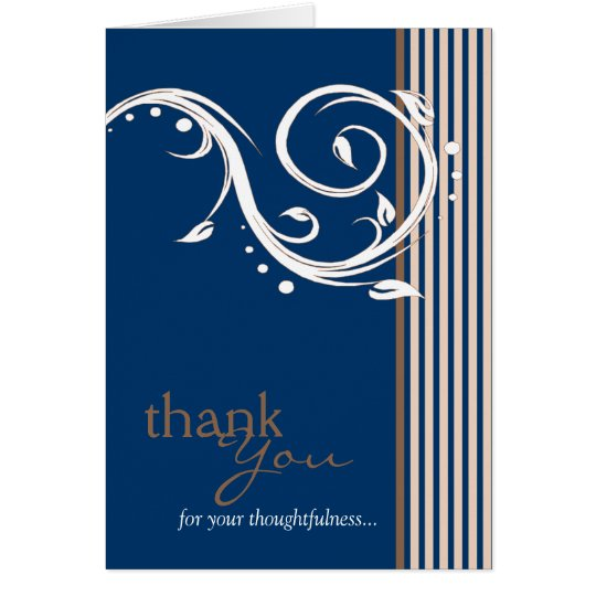 Thank You for Your Thoughtfulness Card Navy Blue
