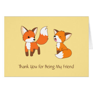 Thank You Friend - Little Foxes Greeting Card