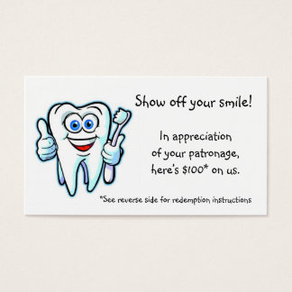 thank you from dentist business card