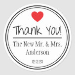 Thank You From The New Mr. & Mrs. (Red / Black) Round Sticker