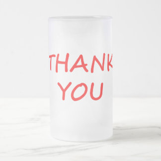 Thank You Frosted Glass Beer Mug