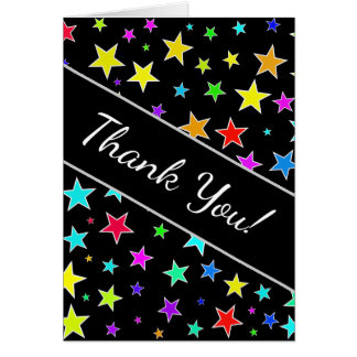 """Thank You!"" + Fun, Colorful Stars Pattern Card"