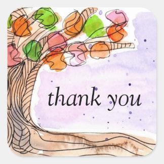 Thank You - Fun Hand-drawn Watercolor Leafy Tree Square Sticker