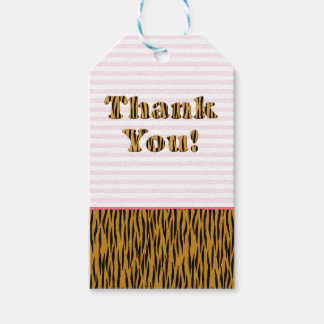 Thank You | Fun Pink Stripes & Tigerprint Gift Tags