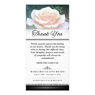 Thank You Funeral White Rose Words Cannot Express Photo Greeting Card