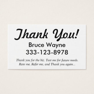 Thank You! generic ride share business cards