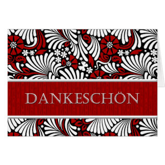 Thank You German Formal Greeting - Red and White Greeting Card