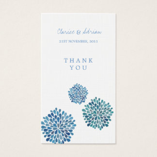 Thank You Gift Favor Tags Blue Flower Blooms