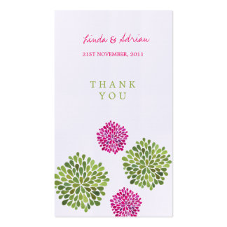 Thank You Gift Favor Tags Pink & Green Blooms Pack Of Standard Business Cards