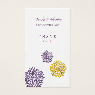 Thank You Gift Favor Tags Purple Yellow Blooms Business Card