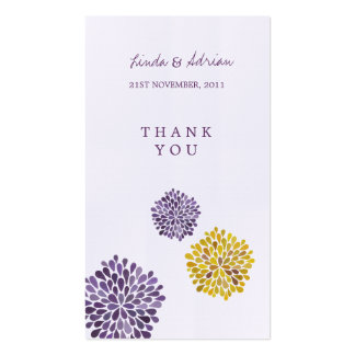 Thank You Gift Favor Tags Purple Yellow Blooms Pack Of Standard Business Cards