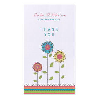 Thank You Gift Favor Tags Tall Rainbow Flowers Pack Of Standard Business Cards