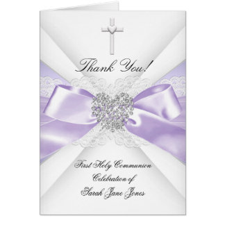 Thank You Girl First Holy Communion Lavender Card
