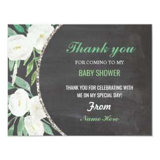 Thank You Girl or Boy Baby Shower Floral Chalk Card