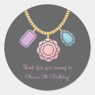 Thank You Glam Jewellery Girls Birthday Party Round Sticker
