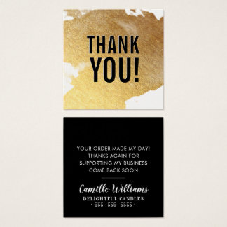 THANK YOU glam luxe faux gold foil splash black Square Business Card