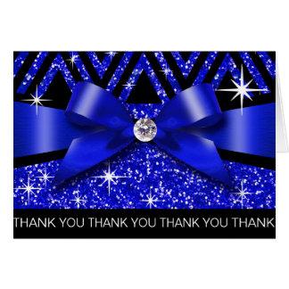 Thank you Glitter Chevron Bling Diamond sapphire Card