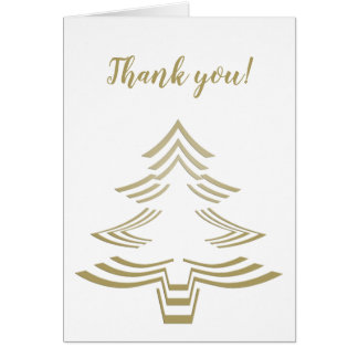Thank You Gold and White Christmas Tree Minimalist Card