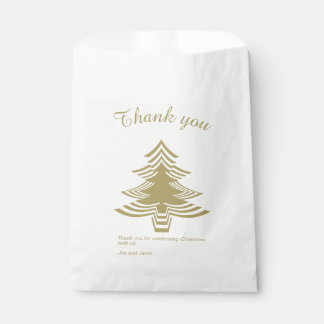 Thank you Gold and White Christmas Tree Pattern Favour Bag