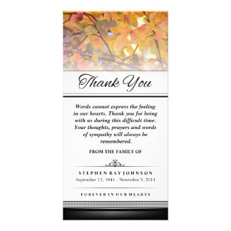 Thank You Gold Autumn Leaves Words Cannot Express Personalized Photo Card