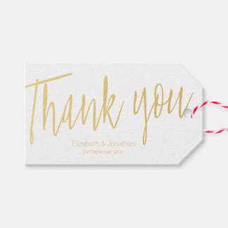 """""""Thank you"""" Gold Calligraphy Wedding Favor Tag"""