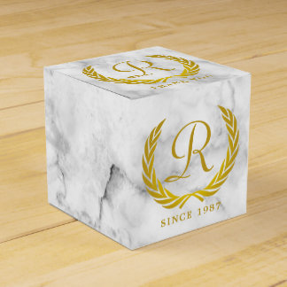Thank You Gold Classic Monogram Laurel Leaf Marble Favour Box