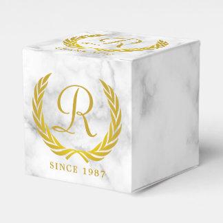 Thank You Gold Classic Monogram Laurel Leaf Marble Wedding Favour Boxes