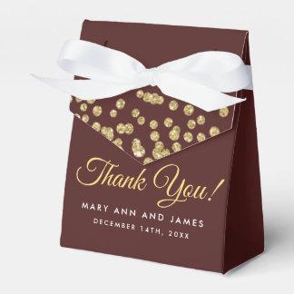 Thank You Gold Faux Glitter Confetti Marsala Favour Box