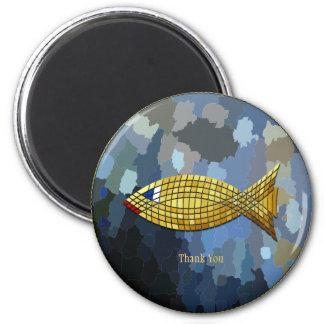 """""""Thank You"""" Gold Fish Tile Design Magnet"""