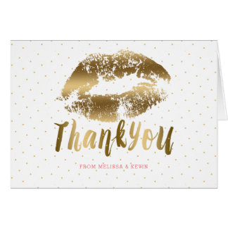 Thank You Gold Text & Lips Kiss Card