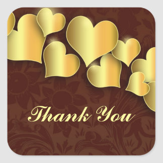 thank you golden retro hearts stickers