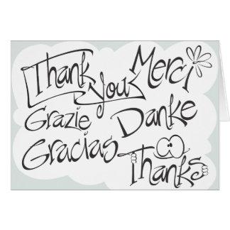 Thank You, Gracias, Merci, Thanks, Black & White Card
