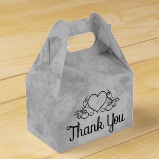 Thank You Gray And Black Watercolor Hearts Party Favour Boxes