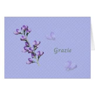 Thank You, Grazie, Italian, Purple Sweet Peas Cards