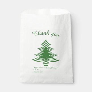 Thank you Green and White Christmas Tree Font Favour Bag