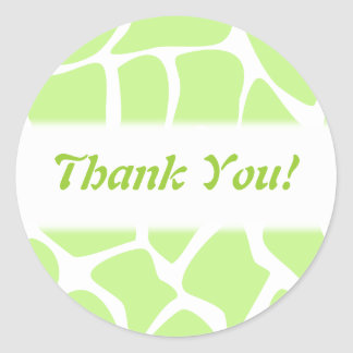 Thank You Green and White Giraffe Pattern Stickers