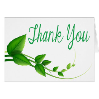 Thank You Green And White Leaf Nature Note Card