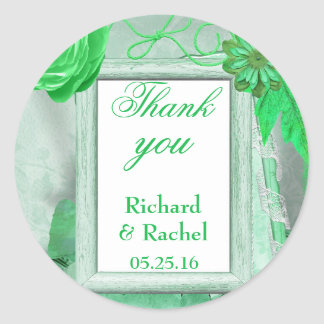Thank you green country scene classic round sticker