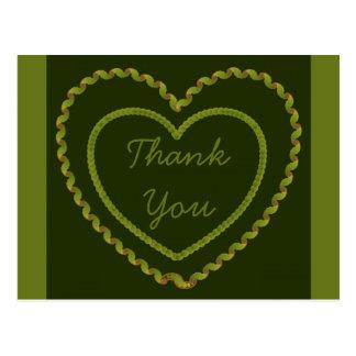 Thank You Green Love  Hearts Postcard