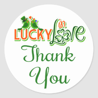 Thank You Green Lovebirds Wedding Stickers