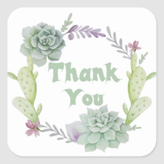 Thank You Green Succulent And Cactus Floral Wreath Square Sticker