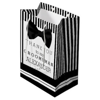 Thank You Groomsman Personalized With Bow Tie Medium Gift Bag
